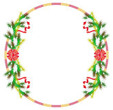 Holiday round frame with pine branch, snow-flakes and cones. Royalty Free Stock Images