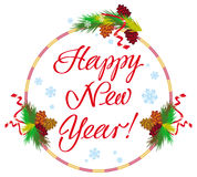 Holiday round label with greeting text `Happy New Year!`. Stock Images
