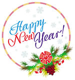 Holiday round label with greeting text `Happy New Year!`. Stock Image