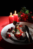 Holiday rustic Christmas and New Year table setting with xmas decorations at dark wooden table. Selective focus Stock Photo