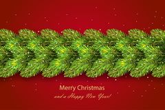 Holiday`s background with border of Christmas tree. Holiday`s background with border of realistic  Christmas tree branches with shining snowflakes and season Royalty Free Stock Photography
