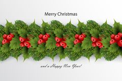Holiday`s background with border of realistic fir tree. Holiday`s background with border of realistic  Christmas tree branches, red ilex holly berries and leaves Stock Photo