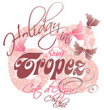 Holiday in Saint Tropez. Vector artwork for children wear in custom colors stock illustration