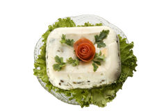 Holiday salad. The celebratory salad decorated with green leaves and red rose royalty free stock image
