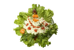 Holiday salad. The celebratory salad decorated with green leaves, carrots, tomatoes and juicy meat stock photography