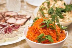 Holiday salad with carrots on a holiday buffet Royalty Free Stock Photos