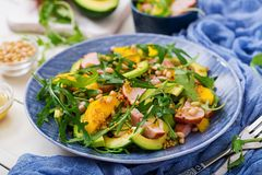 Holiday salad with smoked chicken, mango, avocado Stock Image