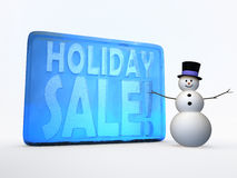 Holiday sale illustration. 3d snowman with ice text  on wite Royalty Free Stock Images