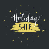 Holiday sale lettering. Christmas calligraphy with spot illustration. Royalty Free Stock Photo
