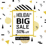 Holiday Sale modern banner in the Memphis style. Template Sale. Special offer. Big sale. Up to 50 interest discount. Hot Stock Photo