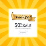 Holiday Sale 50 Off Gold Label Ribbon on Yellow. Holiday sale 50 off golden label ribbon on yellow rays web poster. Promotional element, decorative tape with Stock Photos