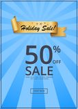 Holiday Sale 50 Off Present Label Rbbon on Blue. Holiday sale 50 off present label ribbon on blue rays. Promotional element, decorative tape with promo text Stock Illustration