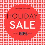 Holiday Sale poster, social media template for online store, red dots pattern background, vector illustration. Royalty Free Stock Image