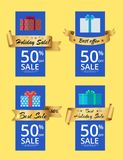 Holiday Sale Posters Set 50 Discount Gold Label. Holiday sale posters set with 50 discount gold label ribbon and gift boxes isolated on yellow. Promotional Royalty Free Stock Image
