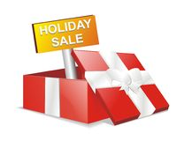 Holiday sale promo. A red box with holiday sale tag royalty free illustration