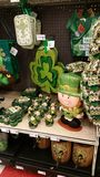 Holiday Sale: St. Patricks Day. St. Patricks day items for sale at a department store Royalty Free Stock Images