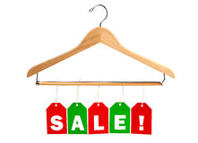 Holiday SALE tags on a clothes hanger Royalty Free Stock Image