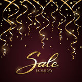 Holiday sale with tinsel on dark background Stock Images