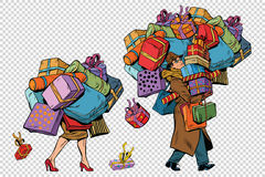 Holiday sales, a couple man and woman with shopping Royalty Free Stock Image