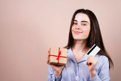 Holiday sales, store delivery and online shopping stock photography