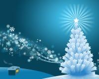 Holiday Scene. Christmas snow scene at night Royalty Free Stock Photo