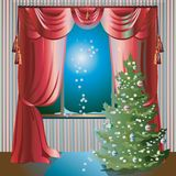 Holiday Scene with Christmas Tree. Colorful illustration with Christmas tree in the room near window; evening and red window curtains Stock Photography