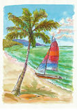 Holiday on the sea. Hand drawing picture, holiday on the sea picture 4 Royalty Free Stock Photo