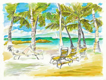Holiday on the sea. Hand drawing picture, holiday on the sea, picture 2 Stock Photography