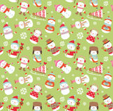 Holiday seamless background. With cute funny snowmen Stock Image