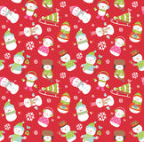 Holiday seamless background. With cute funny snowmen Royalty Free Stock Image