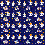 Holiday seamless pattern with angels. Vector illustration of birds, stars and angels Stock Photos