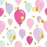Holiday seamless pattern background with balloons and gold confetti. Stock Photography