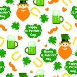 Holiday seamless pattern with beer, face, clover, mustache, horseshoe and hearts. Royalty Free Stock Photo