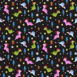 Holiday seamless pattern for christmas with dinosaur drawing royalty free illustration