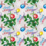 Holiday seamless pattern with Christmas tree. And artistic written text:`Happy New Year!`. Raster clip art Stock Photo