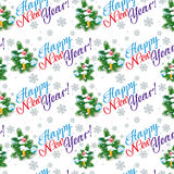 Holiday seamless pattern with Christmas tree. And artistic written text:`Happy New Year!`. Raster clip art Royalty Free Stock Image