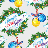 Holiday seamless pattern with Christmas tree. Holiday seamless pattern with Christmas wreath and artistic written text:`Happy New Year!`. Raster clip art Stock Photos