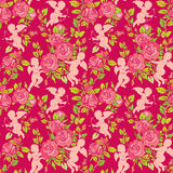 Holiday Seamless pattern with cute angels and pink roses flowers Stock Images