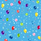 Blue pattern balloons. Holiday seamless pattern for design banner,ticket, leaflet, card, poster and so on. Happy birthday background and balloons Royalty Free Stock Photo