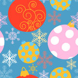 Holiday seamless pattern with different Christmas baubles Royalty Free Stock Photography