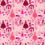 Holiday Seamless pattern for girls. Princess Room - glamour acce. Ssories, gift boxes, pictures. Princess - silhouettes on pink background. Handwritten Royalty Free Stock Photography