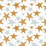 Holiday seamless pattern with gold and silver stars vector illustration