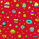 Holiday seamless pattern with ice-cream, pie and cupcakes. Royalty Free Stock Photography
