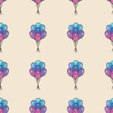 Holiday seamless pattern with multicolor air balloons. Design concept for gift cards, birthday greeting cards, festival. Pattern seamless vector illustration Stock Photo