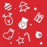 Holiday Seamless Pattern in red background Stock Images