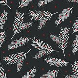 Holiday seamless pattern with spruce branch. Christmas tree illustration. vector illustration