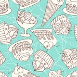 Holiday seamless pattern from sweet, cakes and Stock Image