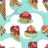 Holiday seamless pattern from sweet, cakes and Stock Images