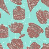 Holiday seamless pattern from sweet, cakes and Stock Photography