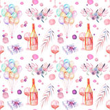 Holiday seamless pattern with watercolor festive elements. Holiday seamless pattern with watercolor gift boxes, air balloons, champagne bottles, wine glasses and Royalty Free Stock Photography